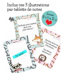 Tablette de notes perforé 3 trous pour reliure